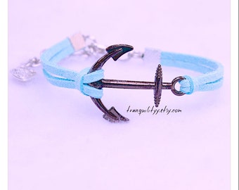 Anchor Bracelet , Infinity Bracelet Majestic Ocean ,  Faux Suede , Gunmetal Large Anchor Adjustable Nautical,Handmade By: Tranquilityy