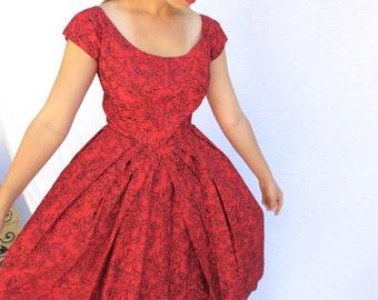 50s Bombshell Red Flocked Party Dress, Full Skirt, Red Crinoline Slip, Cutter Pattern, Size S M, Jackpot Jen Vintage