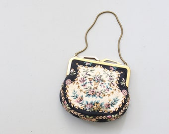 1950s floral tapestry purse - small gold frame bag / W. Germany purse - black tapestry fabric handbag / silk lining - dolly kei purse