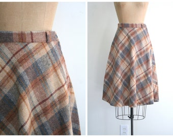 vintage 1970s bias plaid skirt - A line / College Girl - campus boot style / 70s Russ - brown . gray & slate blue