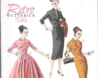 Butterick B5813 Retro 50s Fitted Vintage DRESS Sewing Pattern Full Or Slim Skirt UNCUT Size 14, 16, 18, 20 and 22