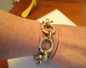 OOAK - Mega CHUNKY, Textured, Notched & Etched Gold/Bronze, THICK Link Artisan Bracelet - Loads of Character