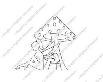 Fairy With Toadstool House Digital Stamp Image