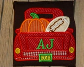 Fall Pick up Truck T Shirt or Bodysuit with Pumpkin and Football and Free Peronsalization