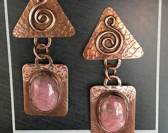 Handcrafted copper earrings with rhodonite cabochon