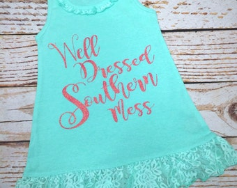 Southern Girl- Southern Girl Dress- Country Dress- Toddler Girl Dress- Girl Dress- Lace dress- Southern Dress- Southern Belle- Southern Baby