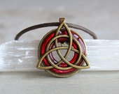 red triquetra necklace, mens necklace, mens jewelry, unique gift, celtic jewelry, irish jewelry, mens gift, celtic necklace, celtic knot