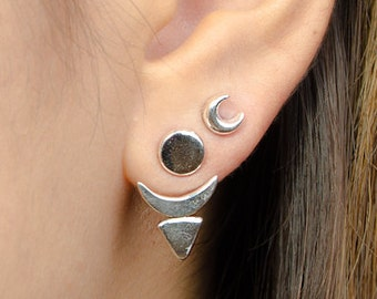 Sun & Moon Ear Jacket, Sterling Silver and Gold Plated, Geometric Jacket Earrings, Edgy Earrings, Modern Jewelry, Gift, EJK006