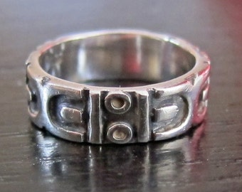 Sterling Silver Abstract Industrial Cog Dots Dashes Wide Band Ring Size 6-3/4
