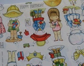Vintage 1975 Joan Walsh Anglund Unused Gift Wrap Sheet ~ Paper Dolls