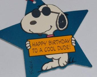 Large Vintage Snoopy Star Hallmark Gift Tag Unused ~ Happy Birthday Cool Dude