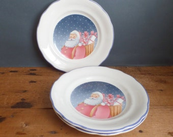 French small plates Father christmas pattern  set of 2
