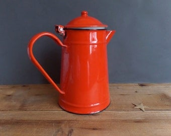 Vintage french red enamel coffee pot country style