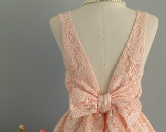 Party V Backless Dress Luxury Lace Dress Old Rose Backless Dress Pale Peach Prom Party Dress Lace Wedding Dress Peach Bridesmaid Dress XS-XL