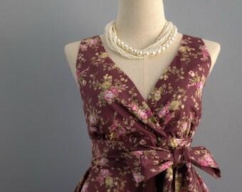 SALE S Rosy brown dress V neck dress floral dress rosy brown party dress floral sundress rosy brown bridesmaid dresses