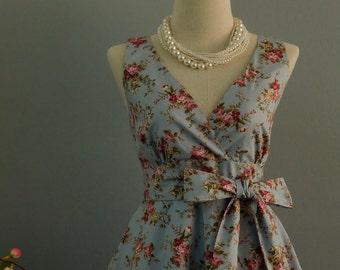 My Lady II - Dusty Blue Floral Dress Spring Summer Purple Rose Floral Party Dress Blue Floral Bridesmaid Dress Vintage Tea Dress XS-XL