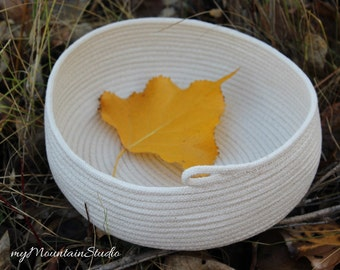 Natural Oval Rope Basket. Handmade Home Decor and Storage Basket. Made in Montana. myMountainStudio Baskets. OOAK Basket 016. Ready to Ship.