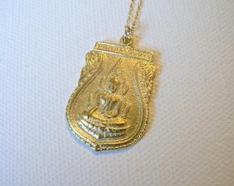 Gold Shiva Necklace, Buddha Necklace, Shiva Pendant Necklace, Yoga and Spirituality Jewelry by Indira Boheme
