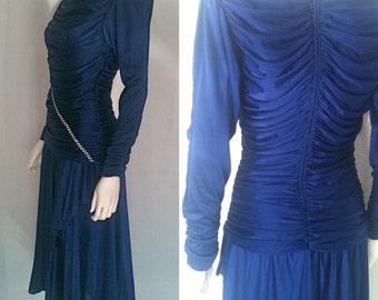 Vintage Royal Blue Rauched and Rhinestoned Dress - Circa 1980s