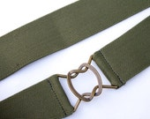 "Women's army green 1.6"" elastic belt with antique gold interlocking clasp"