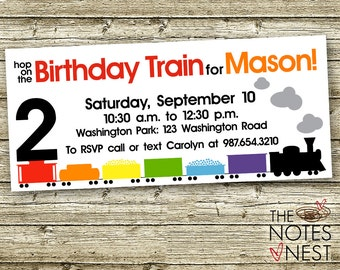 Freight Train Birthday Invitation - Custom Printable