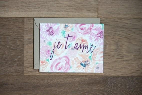 ich liebe dich karte je t 39 aime floral karten. Black Bedroom Furniture Sets. Home Design Ideas
