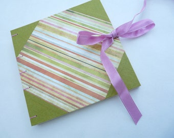 Album, sketchbook, coptic, stripes, ribbon, square