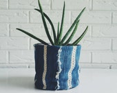 Vintage Mudcloth Plant Holder - Boho Textile Plant Cover - Indigo Tribal Planter