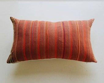 Colorful Thai Hmong Throw Pillow - Modern Boho Pillow with Neon - Vintage Artisan Textile