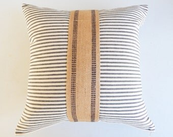 Farmhouse Accent Pillow Cover with Black and Cream Ticking and Vintage Upholstery Webbing - Burlap Ticking Pillow - French Farmhouse