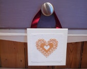 Golden Yellow Heart Hanging Mini Home decor Cross Stitch Valentines Anniversary