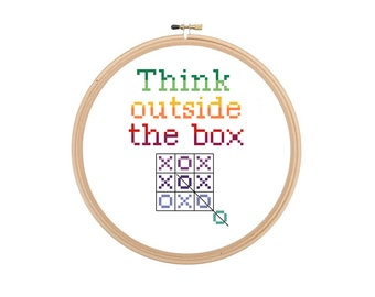Think Outside the Box creative motivational cross stitch pattern