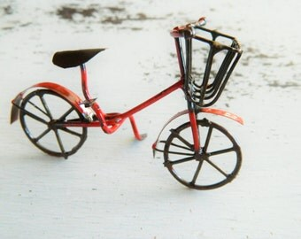 Fairy Garden Miniatures- Red Bike- Miniature Red Bike- Fairy Garden Accessory -Fairy garden Accessory Fairy size Bicycle Fairy supplies