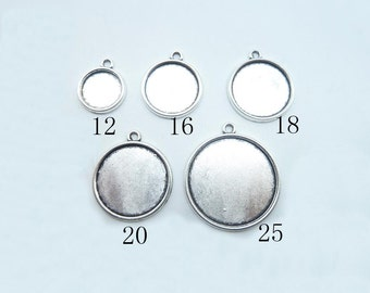 12mm,16mm,18mm,20mm,25mm Antique Silver Round Cameo Cabochon Base Settings Collection (one side)