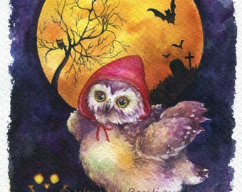 Trick or Treat - ORIGINAL watercolor painting 7.5x11 inches