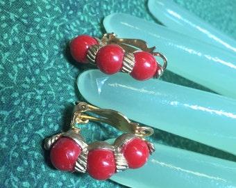 "Vintage 1"" Goldtone True Red Triple Beaded Clip on Earrings - Marvella Clip on Earrings"