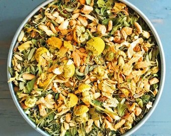 Organic Hangover Tea, Herbal Remedy - Herbal Tea with Organic Herbs - Centaury, Thyme, Ginger, Fennel, Peppermint, Chamomile