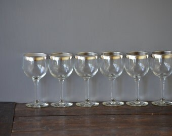 Six (6) Silver Rimmed Wine Glasses / Sterling Overlay
