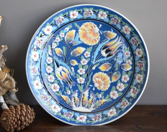 """12"""" Mervegini Handmade / Vintage Floral Wall Plate from Turkey"""