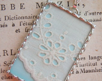 Fiona & The Fig - Double Sided - 1920's ART DECO Era Flapper - Antique White Eyelet Lace-Soldered Necklace Pendant Charm