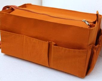 Purse organizer for Louis Vuitton Neverfull MM with Zipper closure- Bag organiser in Mustard