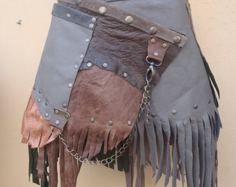 """20%OFF BURNING MAN leather belt with stud and chain detail...28"""" to 36"""" waist or hips.."""