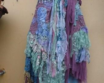 "20%OFF wedding bohemian boho gypsy lagenlook OAK shabby wrap skirt...36"" across plus ties...SMALL"