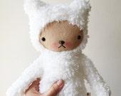 Kawaii Teddy Bear In White Cuddle Sherpa Large