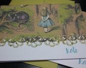 Alice in Wonderland vintage style note cards- set of 5