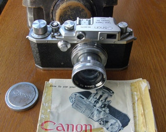 Canon Model III 35mm Rangefinder Camera with 50mm f1.9 Serenar Lens, Case, Cap and Instructions.  Made in early 1950's