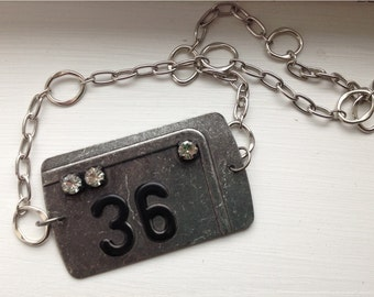 Metal plate Number 36 Necklace  License plate style necklace
