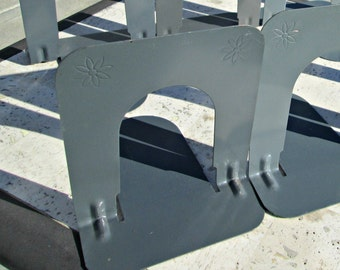 Pair of Small Industrial Vintage Metal Gray Bookends with Embossed Stylistic Double Flower Detail