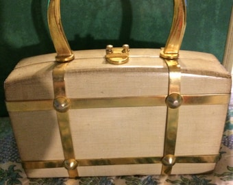 Vintage Saks Fifth Avenue Purse. Vintage Purse. Saks. Wooden Purse with Gold.