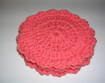 Summer coral tropical crochet coasters (3)